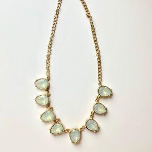 STATEMENT NECKLACE: Teardrop milky mint necklace
